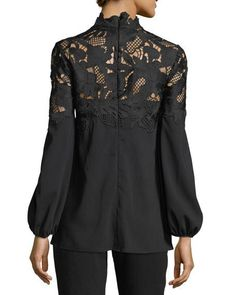 Lela Rose Guipure Lace-Yoke Blouse - Women's style: Patterns of sustainability Lela Rose, Formal Blouses, Merian, Lace Outfit, Blouse And Skirt, Elegant Outfit, Lace Tops, Blouse Designs, Chic Outfits