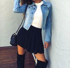 Wheretoget - Blue denim jacket, white tee-shirt, black skater skirt, black knee-high boots, and black shoulder bag