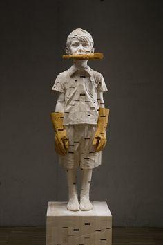 Wooden Sculptures of children by artist GEHARD DEMETZ