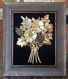 Vintage & Costume Jewelry Golden Bouquet Framed Art by NotTooShabbyDesignCo on Etsy https://www.etsy.com/listing/517586269/vintage-costume-jewelry-golden-bouquet