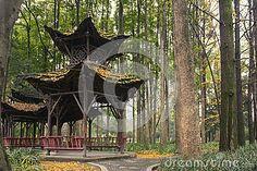Empty vintage pavilion in park at autamn
