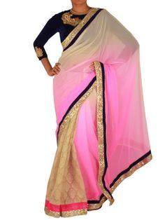 Pink and Beige Jamyawar/Georgette shaded saree | Sweta Sutariya