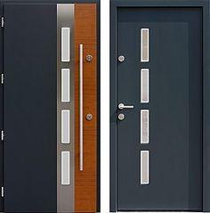 Drzwi wejściowe z aplikacjami inox model 444,1-444,11+ds4 w kolorze ral 7016
