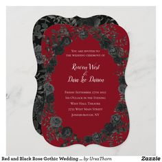 Red and Black Rose Gothic Wedding Invitations Gothic Wedding Invitations, Halloween Wedding Invitations, Wedding Invitation Size, Bridal Shower Invitations, Wedding Favors, Wedding Reception, Temple Wedding, Invitation Ideas, Wedding Stationary