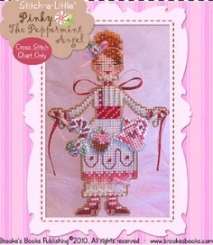 Pinky The Peppermint Angel - Cross Stitch Pattern by Brooke's Books Publishing using Kreinik threads