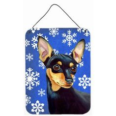 Caroline's Treasures Min Pin Winter Snowflakes Holiday by Lyn Cook Graphic Art Plaque