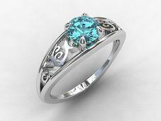 Aquamarine engagement ring, white gold, filigree ring, blue engagement, solitaire, vintage style, lace ring, birthstone on Wanelo