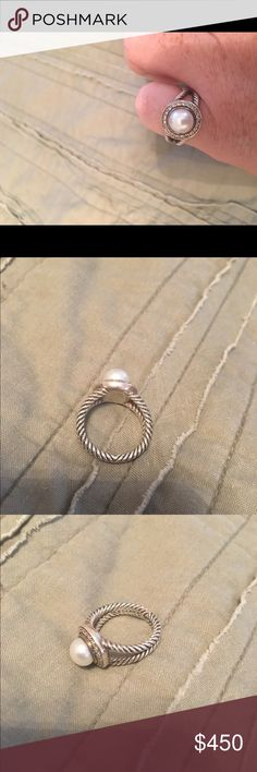 David Yurman Cable Pearl and Diamond Ring Beautiful authentic David Yurman Solver Cable ring with Pearl and Pave Diamonds. The pearl is freshwater. .14 carat weight. In great condition. Size is around a 7.5.Price is the same even if bundled. David Yurman Jewelry Rings