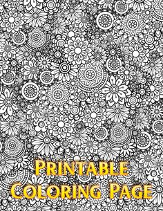 Floral Coloring Page INSTANT DOWNLOAD