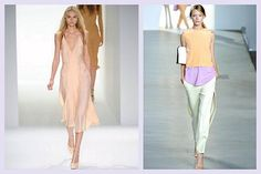1. Pastel Sorbet Shades…    Pastel looks from Calvin Klein and 3.1 Phillip LimPastels are feminine and girly. This season every girl can feel like a princess in a …