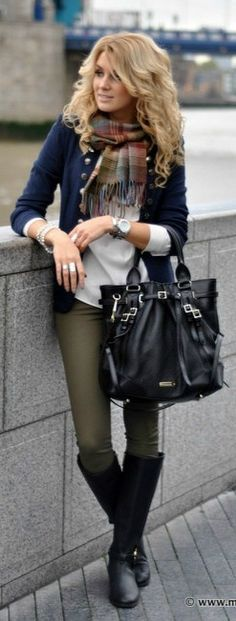 -the purse. -the jewelry. love the scarf. love the hair. cardigan is nice. leggings are a great color and the boots work.