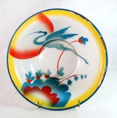 Art Deco Enamel, German Spritzdekor Air-brushed Stylised Flying Crane Red Teal & Yellow Enamel Wash Bowl Basin 1930s