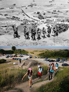 les plages du d day en 1944 et maintenant 10   Les plages du D Day en 1944 et maintenant   WWII seconde guerre mondiale plage photo image de...