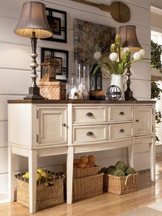 Whitesburg Two-Tone Breakfront Dining Room Server by Signature Design by Ashley - Carolina Direct - Serving Table Greenville, Spartanburg, Anderson, Upstate, Simpsonville, Clemson, SC