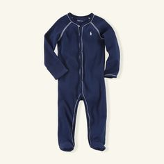 Navy Blue Solid Coverall - One-Pieces  Layette Boy (Newborn–9M) - RalphLauren.com