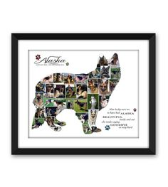 German Shepherd GSD Alsatian Dog Puppy Service Dog Canine Pet Memorial Pet Loss Custom Silhouette Photo Collage Wall Art Digital Printable