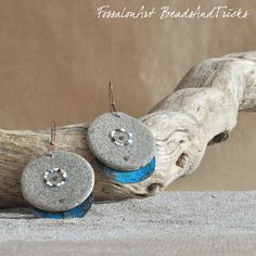 Copper, hemp twine, sand and seashells' chips earrings. Blue patina   Handmade by FossalonArt & Beads and Tricks