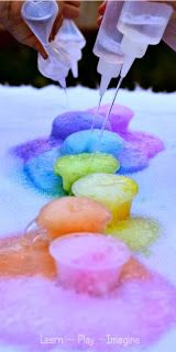 Gorgeous rainbow eruptions for kids - Easy, inexpensive, and so much fun!