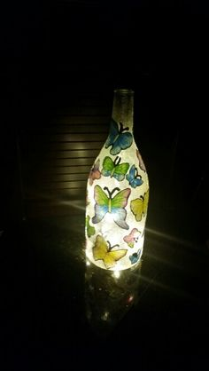 Butterfly Light Up Wine Bottle   If anyone wants one of these done send me an e-mail at Ashleydunai@gmail.com