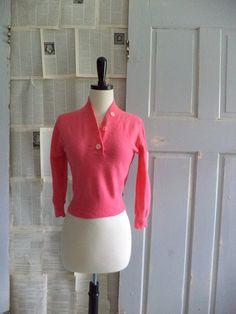 1950s Coral Pink Kitt' N Gora Cropped Sweater  $44.00