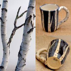 Ceramic Mug. BIRCH TREE . Black and White Stoneware Earthy Mug. Large 10 OZ Cup. Inspired By Nature. Ceramic Pottery. Zen Ceramics.