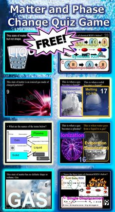 States of Matter, Phase Change Quiz Game Science Worksheets, Science Resources, Teaching Science, Teaching Resources, Teaching Ideas, Science Ideas, Science Lessons, Science Experiments, High School Classroom