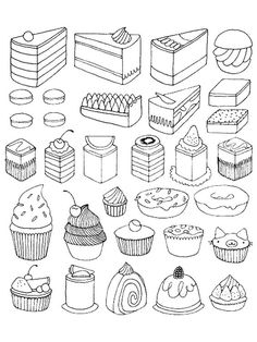 Free coloring page coloring-adult-cupcakes-and-little-cakes. Delicious little cupcakes and other appetizing desserts