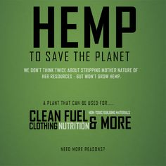You can start using hemp at any time! It's clothing. It's food. It's a supplement.