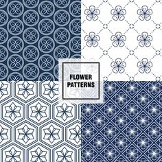 padrões florais azuis escuros