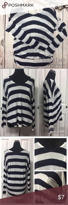 "Navy & White Striped LS Top •Size Small     Bust: 38"" Lgth: 21/25"" •Relaxed hi/ low fit •Navy and white stripes •V-neck, front and back •95% Rayon 5% Spandex  Has pilling, a small pin hole and a small stain, but still great for just lounging around the house. Splendid Tops"