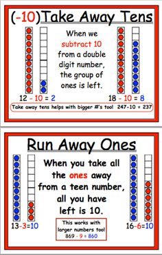 Here's a set of strategy posters working on subtraction problems.