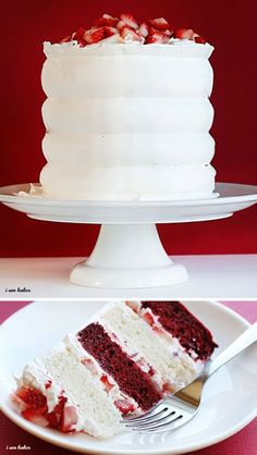 Red velvet strawberry shortcake cake