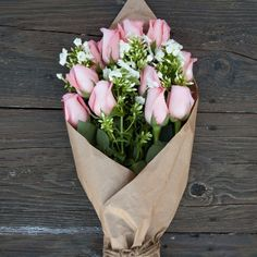 Shop for The Bouqs Volcano Collection 'Above and Beyond' Original Pink Rose Flower Bouquet. Get free delivery On EVERYTHING* Overstock - Your Online Flowers & Plants Outlet Store! How To Wrap Flowers, Fresh Flowers, Beautiful Flowers, Pink Rose Flower, My Flower, Pink Roses, Pale Pink, Pink Flowers, Pink Tulips