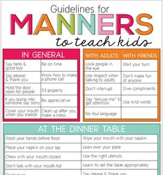 for Manners Guidelines for Manners to Teach Kids. Free printable sheet that helps parents teach kids about manners.Guidelines for Manners to Teach Kids. Free printable sheet that helps parents teach kids about manners. Kids And Parenting, Parenting Hacks, Parenting Classes, Parenting Quotes, Parenting Plan, Foster Parenting, Single Parenting, Parenting Websites, Parenting Styles