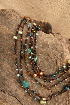 Soft Cotton Beaded Crochet Boho Style Textile Wrap Necklace or Bracelet - Riverside