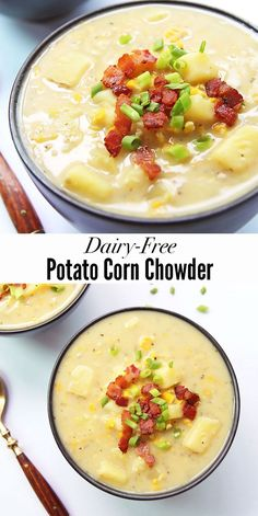 This dairy-free Potato Corn Chowder is delicious comfort food. Can also be made vegan.