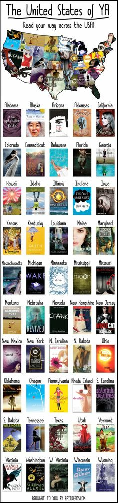 Young adult books- often with mature themes- that take place in each of the 50 states