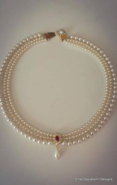 Bridal Necklace Red Ruby Stone Vintage Bridal Pearl Necklace July Brightstone Pearl Wedding Choker Rhinestone Zirconium Pearls Strand Choker - List of the best jewelry Pearl Necklace Designs, Jewelry Design Earrings, Gold Earrings Designs, Gold Jewellery Design, Bead Jewellery, Beaded Jewelry, Pearl Jewelry, Pearl Necklace Vintage, Vintage Pearls