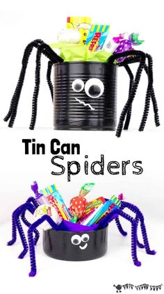 TIN CAN SPIDER CRAFT - a fun recycled craft for Halloween. A fun and easy Halloween craft to display your Halloween treats. Fill these Halloween spiders with your favourite candy to make creepy Halloween decorations for your Halloween party. Dulceros Halloween, Creepy Halloween Decorations, Halloween Crafts For Kids, Crafts For Kids To Make, Halloween Activities, Halloween Treats, Halloween Labels, Halloween Pumpkins, Vintage Halloween