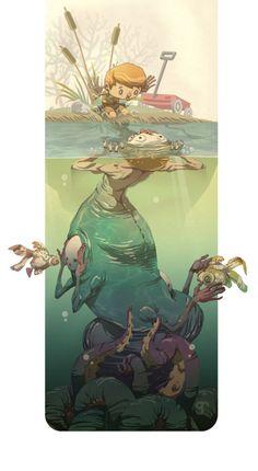 Greig Rapson #art #illustration #child #sea #monster #swamp #river #fantasy