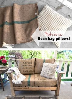 Make no sew bean sack pillows instantly! By Funky Junk Interiors for Ebay