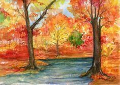 Original Autumn Landscape Watercolor  Painting by SharonFosterArt