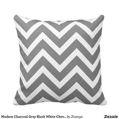 Modern Black and White Chevron Geometric Stripe Pillows Custom Pillows, Decorative Throw Pillows, Living Room Cushions, Striped Cushions, Geometric Pillow, Grey And White, Farmhouse Decor, Chevron, Stripes