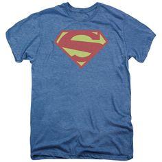 Superman 52 Solid Royal Distress Deep Sea Heather Fine Duo-Blend T-Shirt