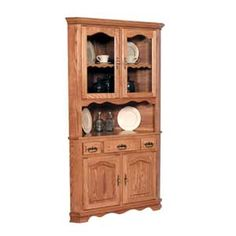 Simply Amish Classic 2 Door Open Corner China Cabinet - KCC36OCHB