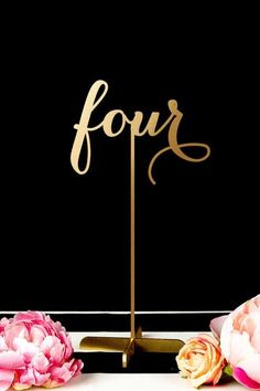Wedding Table Numbers Freestanding with Base