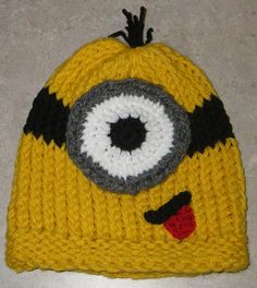 Fun minion beanie, uses  39 peg loom, with additional features crocheted.