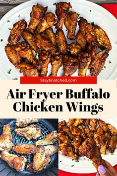 Air Fryer Crispy Buffalo Chicken Hot Wings (Keto Low-Carb) is a quick and easy recipe that uses a marinade and dry rub to perfectly season the chicken. Crispy Fried Chicken Wings, Air Fryer Fried Chicken, Diet Dinner Recipes, Air Fryer Dinner Recipes, Low Carb Chicken Recipes, Healthy Recipes, Best Chicken Wing Recipe, Honey Bbq, Air Fryer Healthy