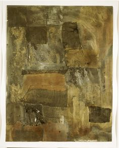 Robert Rauschenberg - 1952, Untitled [black painting on paper] Gold, copper, and enamel paints, and newspaper on paper (55.2 x 42.5 cm)