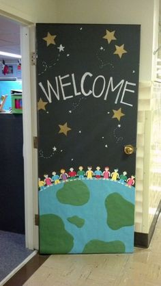 Class decoration, classroom displays, art classroom door, welcome door Space Theme Classroom, Classroom Bulletin Boards, Classroom Design, Classroom Displays, Preschool Classroom, Art Classroom, World Bulletin Board, Classroom Ideas, Welcome Door Classroom